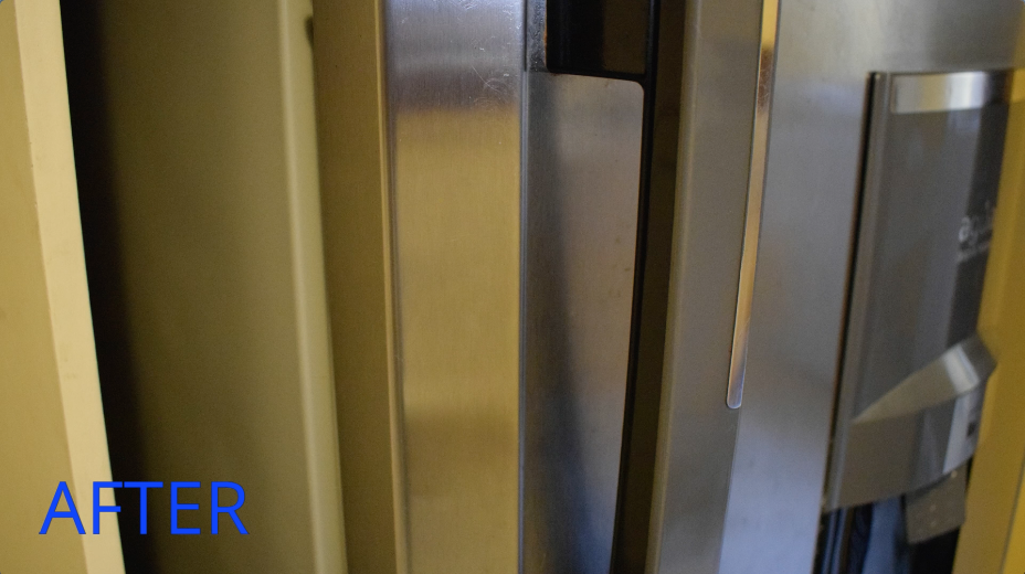 掃除した後の冷蔵庫の扉