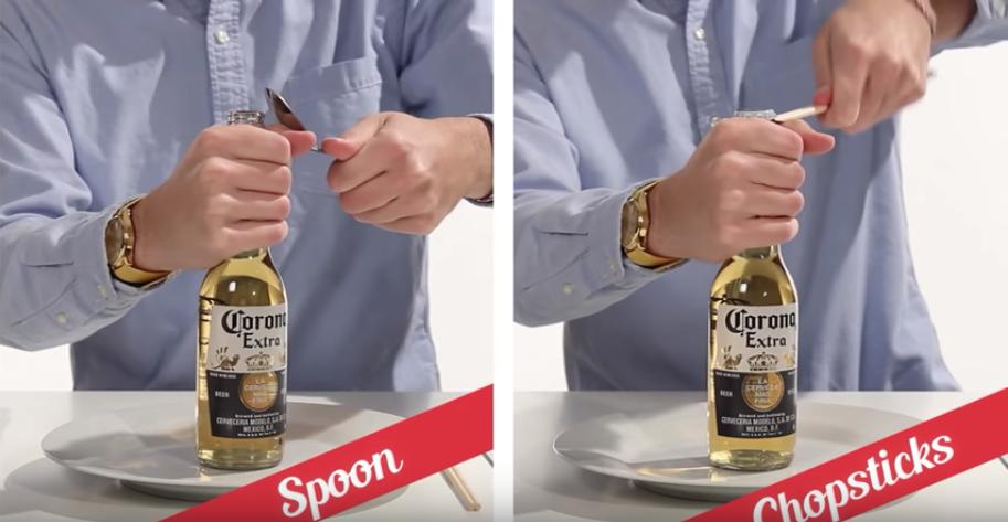 スプーンや割り箸を使いてこの原理でビール瓶を開栓