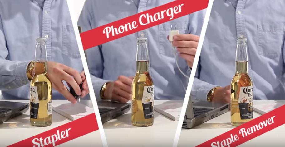 ホッチキス、携帯充電器、ホッチキスリムーバーでビール瓶を開栓